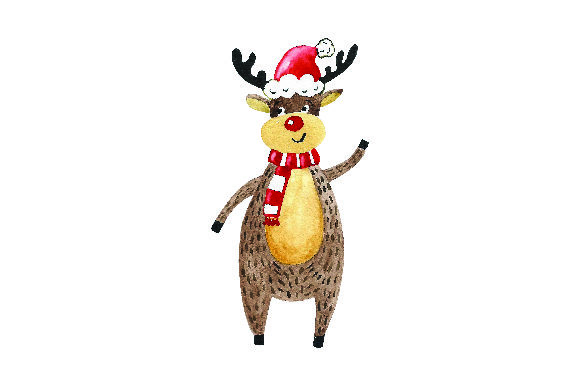 Download Free Reindeer Wearing Santa Hat Watercolor Style Svg Cut File By for Cricut Explore, Silhouette and other cutting machines.