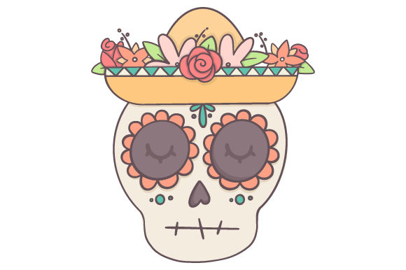 Skull with Hat Mexico Craft Cut File By Creative Fabrica Crafts
