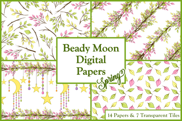 Print on Demand: Spring Beady Moon Digital Papers & Tiles Graphic Patterns By Lila Lilyat