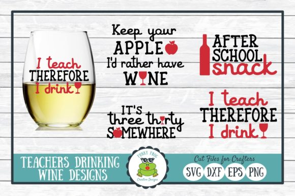 Download Free Teachers Drinking Wine Graphic By Funkyfrogcreativedesigns for Cricut Explore, Silhouette and other cutting machines.