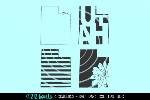 Print on Demand: Utah State Map Silhouettes Graphic Illustrations By 212 Fonts