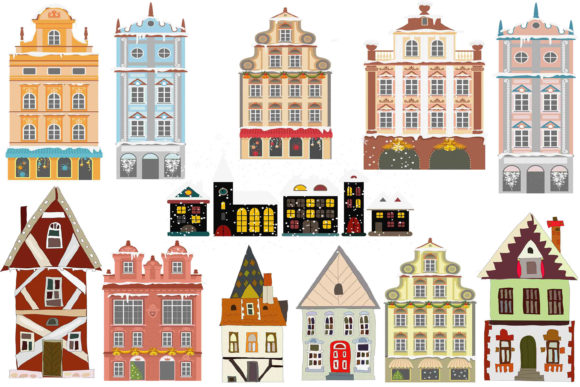Print on Demand: Vintage House Clipart Graphic Illustrations By retrowalldecor