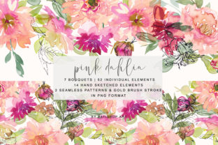 Watercolor Pink Dahlia Clipart Set Graphic By Patishop Art