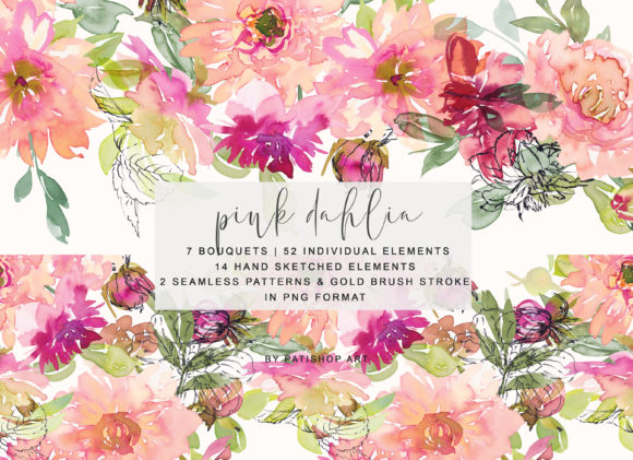 Watercolor Pink Dahlia Clipart Set Graphic Illustrations By Patishop Art