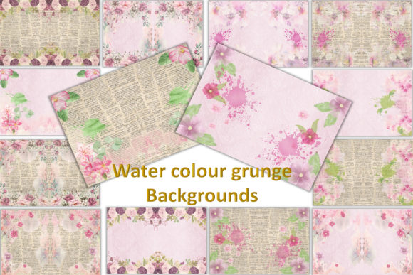 Print on Demand: Watercolour Garden Backgrounds Graphic Backgrounds By The Paper Princess - Image 1