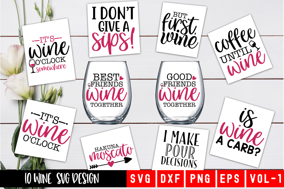 Download Free Wine Bundle Graphic By Designdealy Com Creative Fabrica for Cricut Explore, Silhouette and other cutting machines.