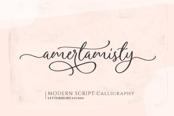 Print on Demand: Amerta Misty Script Script & Handwritten Font By letterhend