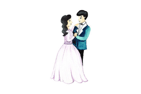Bride and Groom Dancing - Watercolor Wedding Craft Cut File By Creative Fabrica Crafts - Image 1