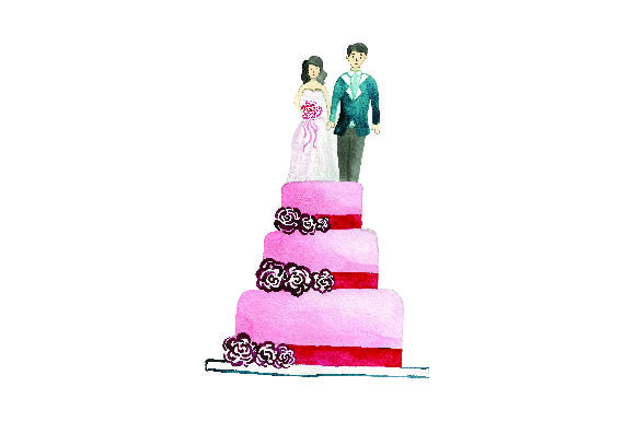Bride and Groom on Cake - Watercolor Wedding Craft Cut File By Creative Fabrica Crafts - Image 1