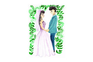 Bride and Groom Standing at Front of Ceremony - Watercolor Craft Design By Creative Fabrica Crafts