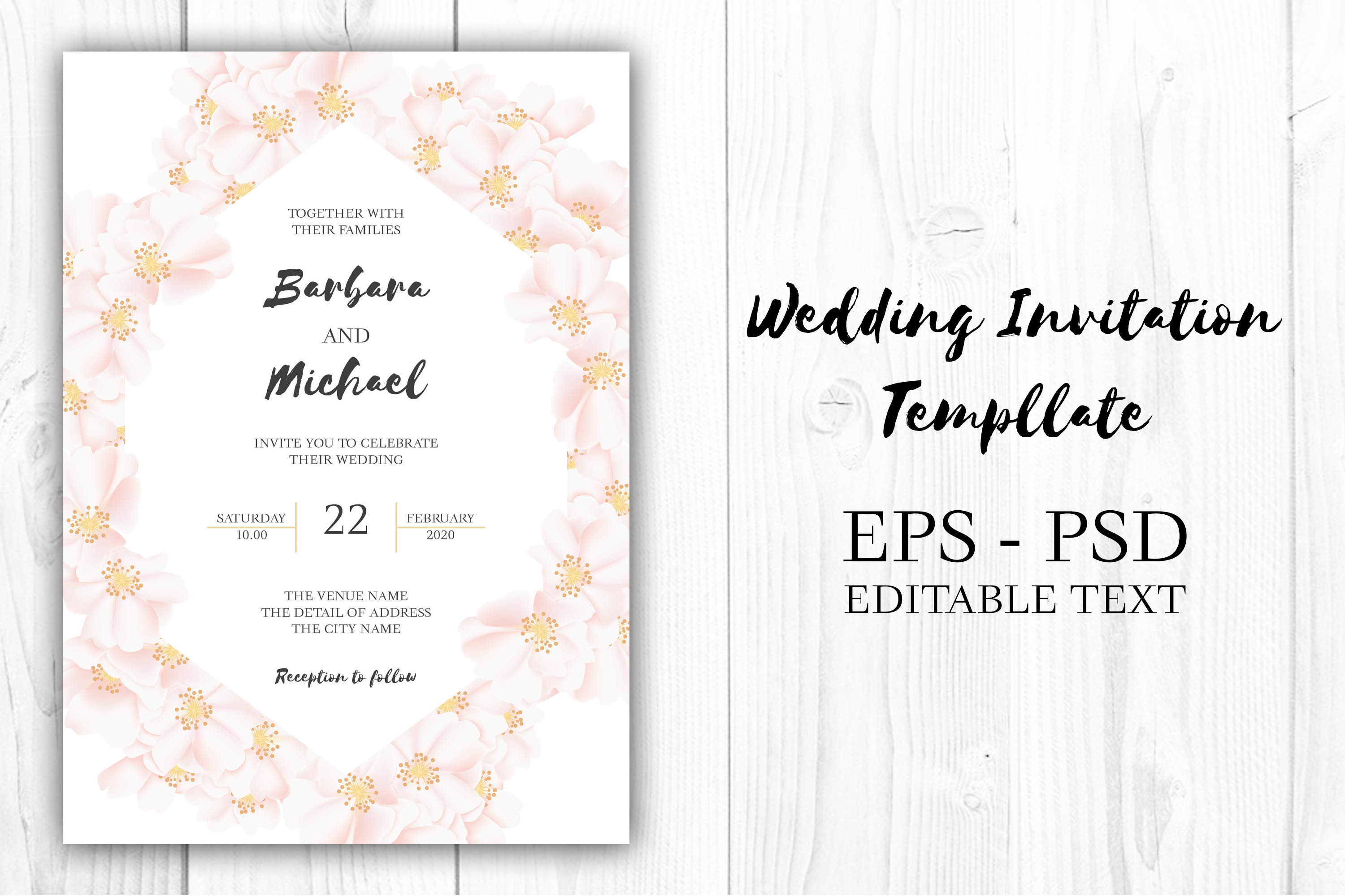 Download Free Cherry Blossom Floral Wedding Invitation Graphic By Elsabenaa for Cricut Explore, Silhouette and other cutting machines.