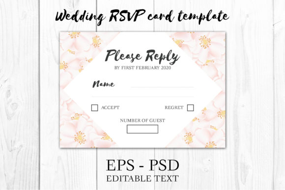 Download Free Cherry Blossom Floral Wedding Rsvp Card Graphic By Elsabenaa for Cricut Explore, Silhouette and other cutting machines.