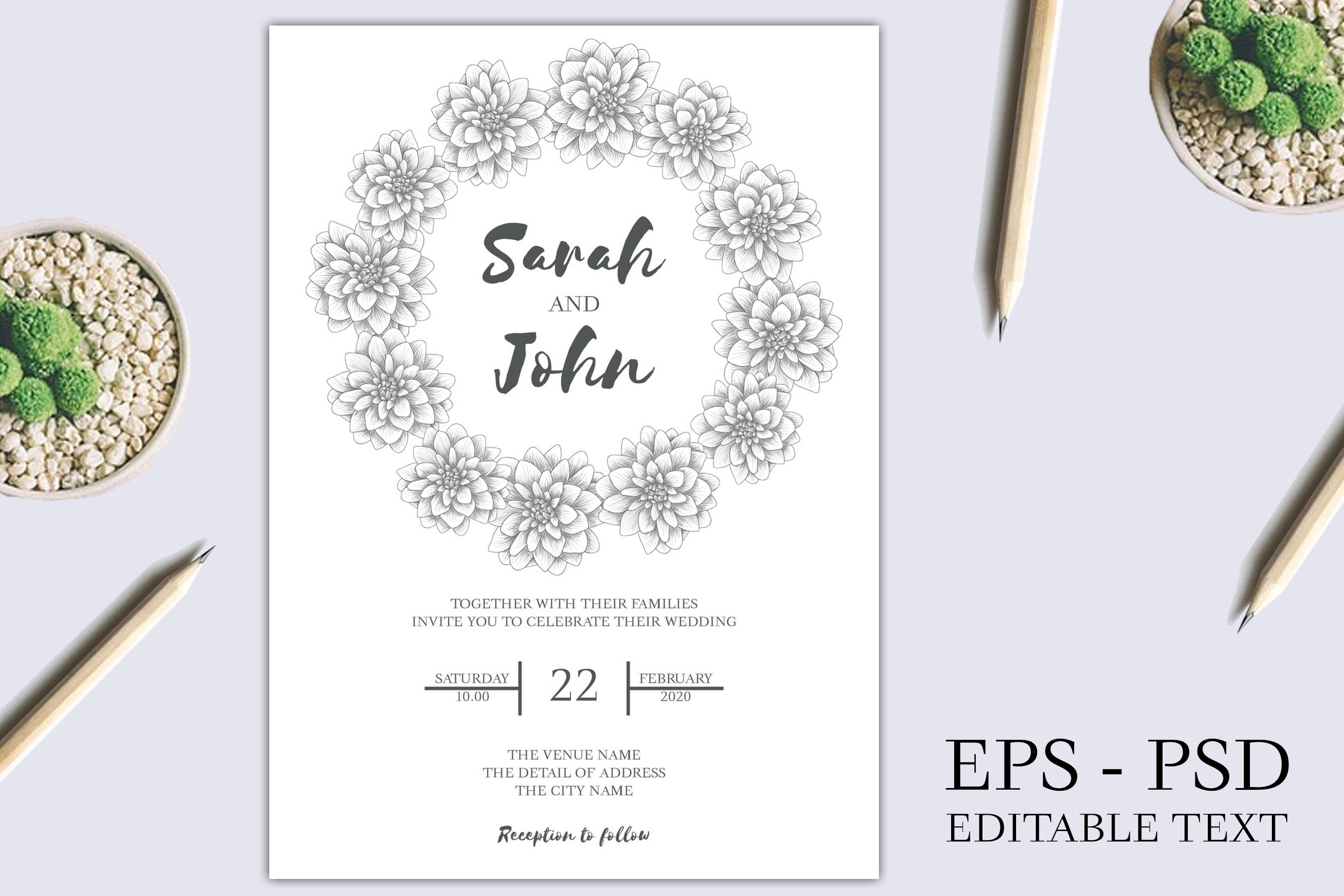 Download Free Dahlia Sketch Floral Wedding Invitation Graphic By Elsabenaa for Cricut Explore, Silhouette and other cutting machines.