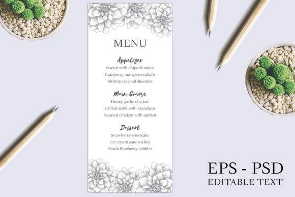 Download Free Dahlia Sketch Floral Wedding Menu Card Graphic By Elsabenaa for Cricut Explore, Silhouette and other cutting machines.