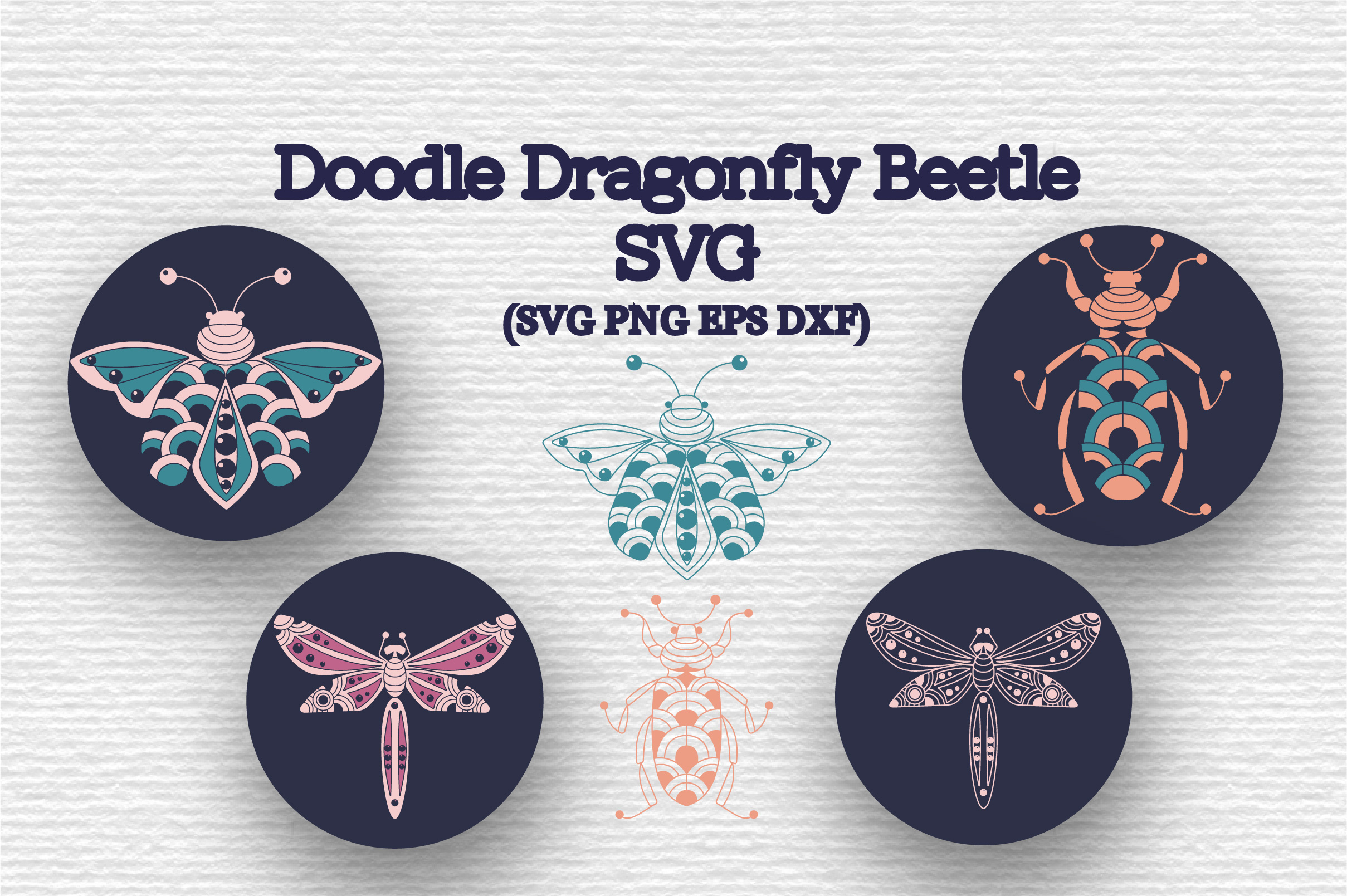 Download Free Doodle Dragonfly Beetle Graphic By Tatyana Zenartist Creative for Cricut Explore, Silhouette and other cutting machines.