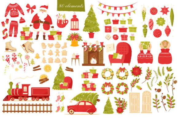 Print on Demand: Christmas Feeling 80 Elements Graphic Illustrations By KatiaZhe - Image 2