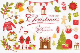 Feel the Christmas 80 Elements Graphic By KatiaZhe