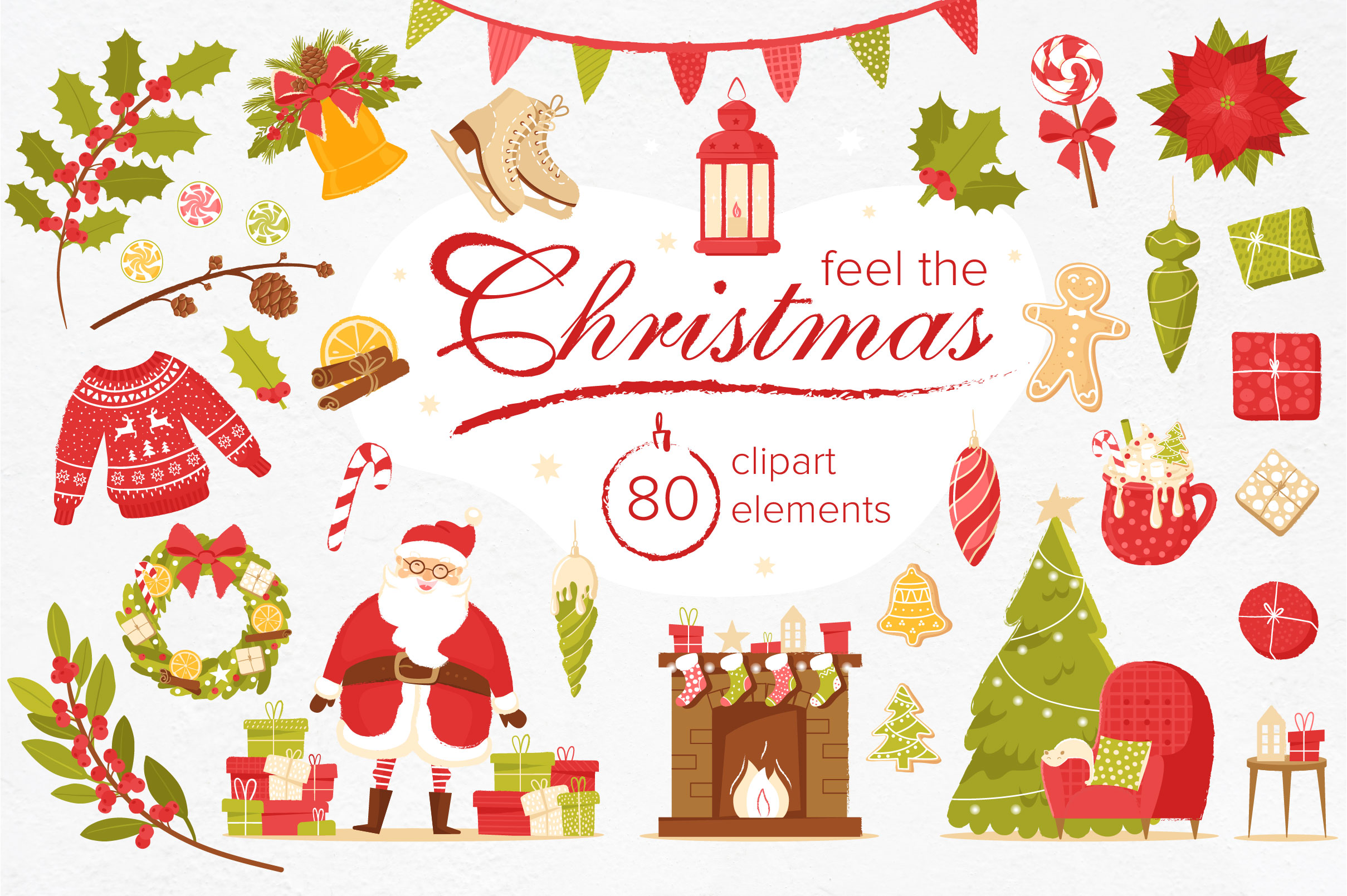 Download Free Christmas Feeling 80 Elements Graphic By Katiazhe Creative Fabrica for Cricut Explore, Silhouette and other cutting machines.