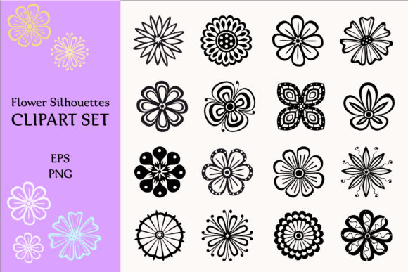 Flower Silhouettes Vector Collection Graphic By StudioIndigo