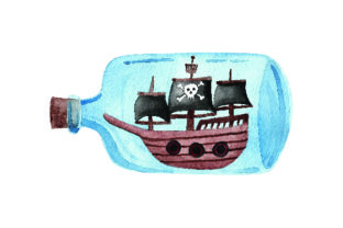 Glass Bottle with Pirate Ship - Watercolor Craft Design By Creative Fabrica Crafts