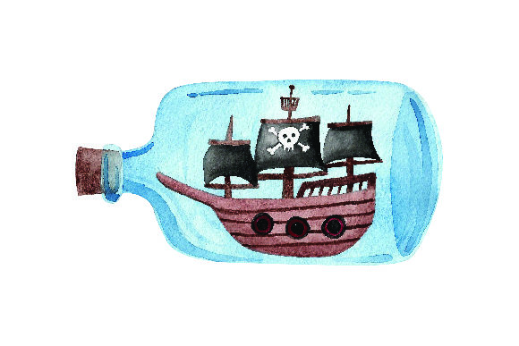 Glass Bottle With Pirate Ship Watercolor Svg Cut File By