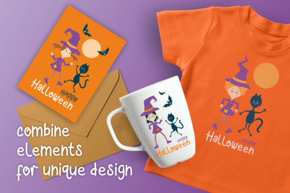 Print on Demand: Halloween Dance Funny Witches and Black Graphic Illustrations By Olga Belova - Image 4