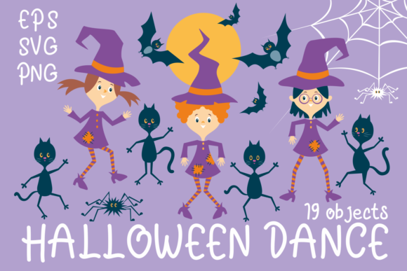 Print on Demand: Halloween Dance Funny Witches and Black Graphic Illustrations By Olga Belova