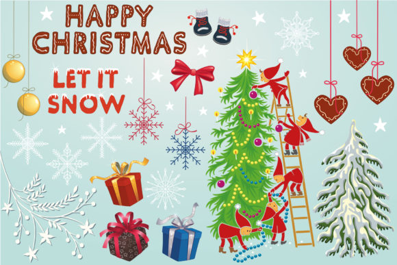 Happy Christmas Clipart Collection Graphic Crafts By StudioIndigo