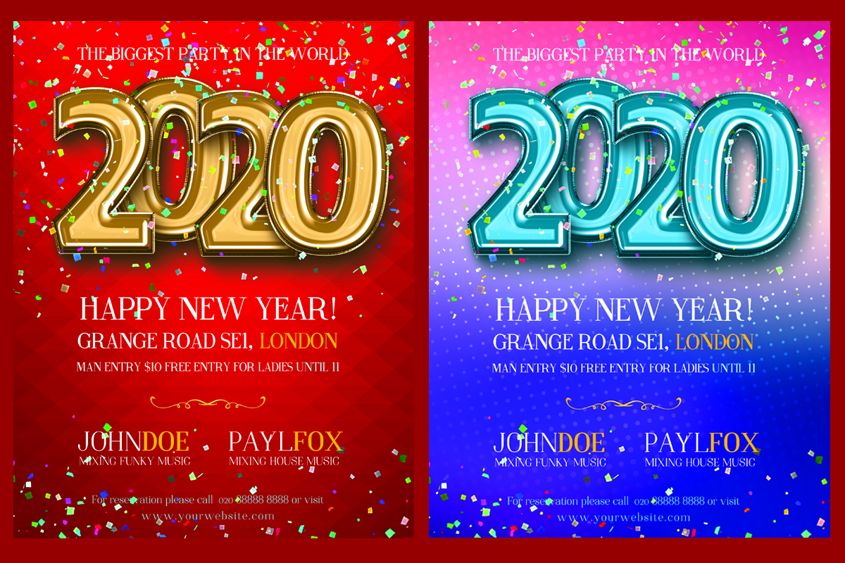 Download Free Happy New Year 2020 Poster Graphic By Skull And Rose Creative for Cricut Explore, Silhouette and other cutting machines.