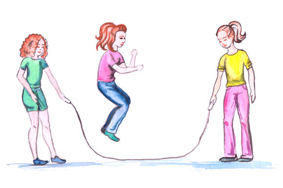 Download Free Kids Playing Jumprope In Watercolor Style Svg Cut File By for Cricut Explore, Silhouette and other cutting machines.