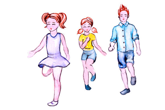 Download Free Kids Running Around In Watercolor Style Svg Cut File By Creative SVG Cut Files