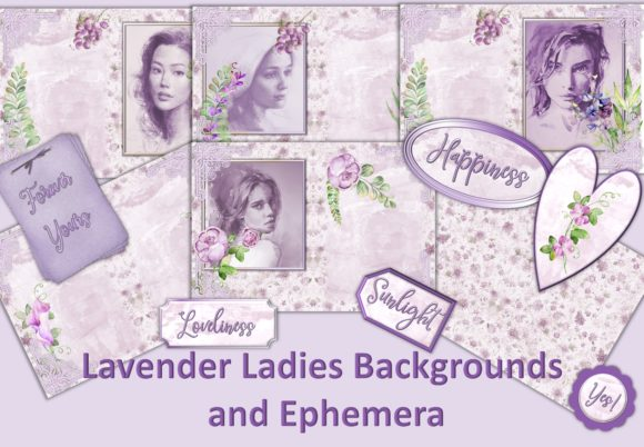 Print on Demand: Lavender Ladies Backgrounds & Clipart Graphic Backgrounds By The Paper Princess