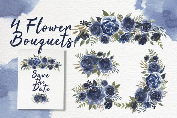 Print on Demand: Navy Blue Flower Watercolor Clip-art Graphic Illustrations By OrchidArt - Image 2