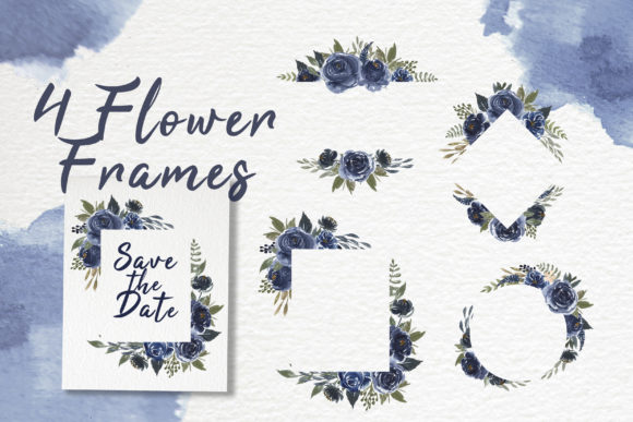 Print on Demand: Navy Blue Flower Watercolor Clip-art Graphic Illustrations By OrchidArt - Image 3