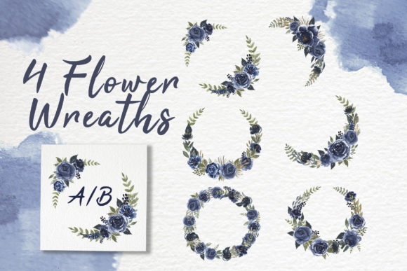 Print on Demand: Navy Blue Flower Watercolor Clip-art Graphic Illustrations By OrchidArt - Image 4