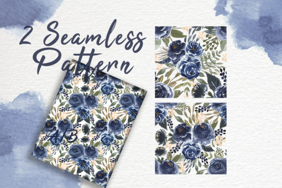 Print on Demand: Navy Blue Flower Watercolor Clip-art Graphic Illustrations By OrchidArt - Image 5