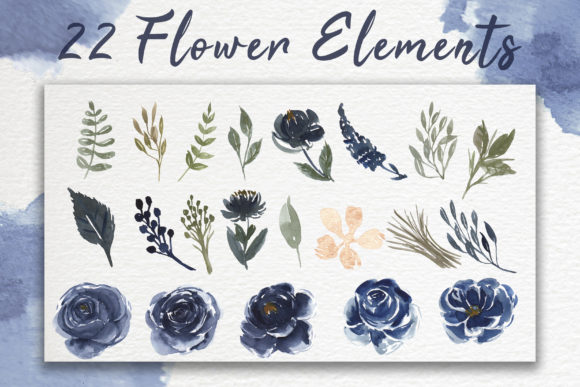 Print on Demand: Navy Blue Flower Watercolor Clip-art Graphic Illustrations By OrchidArt - Image 6