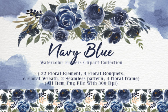 Print on Demand: Navy Blue Flower Watercolor Clip-art Graphic Illustrations By OrchidArt - Image 1