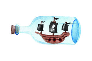 Pirate Ship Inside Glass Bottle - Watercolor Craft Design By Creative Fabrica Crafts