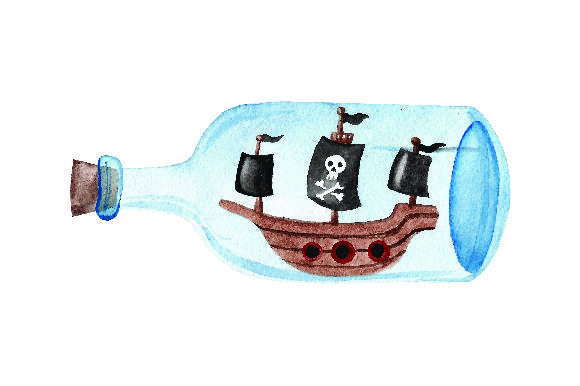 Pirate Ship Inside Glass Bottle Watercolor Svg Cut File By