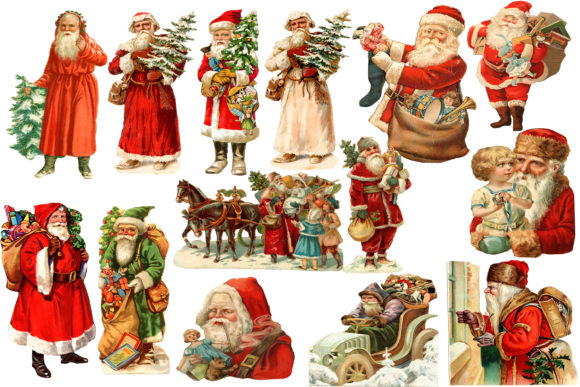 Print on Demand: Santa Clip Art Graphic Illustrations By retrowalldecor
