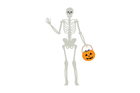 Download Free Skeleton Holding Jack O Lantern Basket Svg Cut File By Creative for Cricut Explore, Silhouette and other cutting machines.