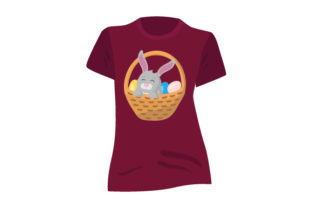 T-shirt Mockup with Bunny Inside Basket of Eggs Craft Design By Creative Fabrica Crafts