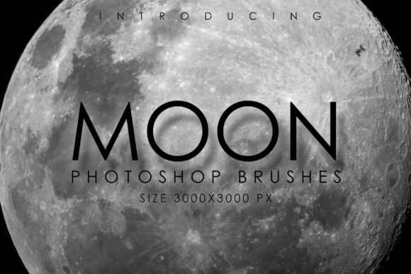 Print on Demand: 32 Planetary Moon Brushes Graphic Brushes By denestudios