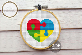 Autism Puzzle Pieces Heart Cross Stitch Graphic Cross Stitch Patterns By crossstitching101