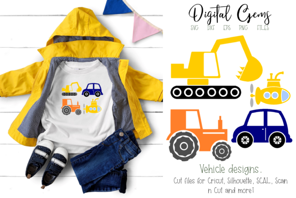 Car, Submarine, Tractor & Digger Designs Graphic By Digital Gems