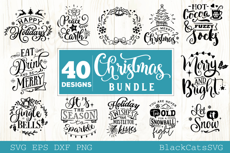 Download Free Christmas Bundle Bundle 40 Designs Graphic By Blackcatsmedia for Cricut Explore, Silhouette and other cutting machines.