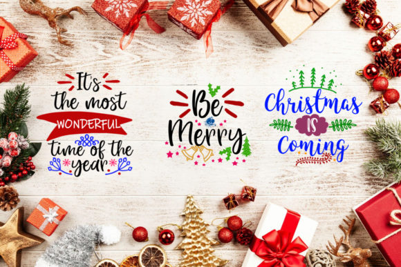 Print on Demand: Christmas Quotes Overlays Text Overlays Graphic Illustrations By Happy Printables Club - Image 2