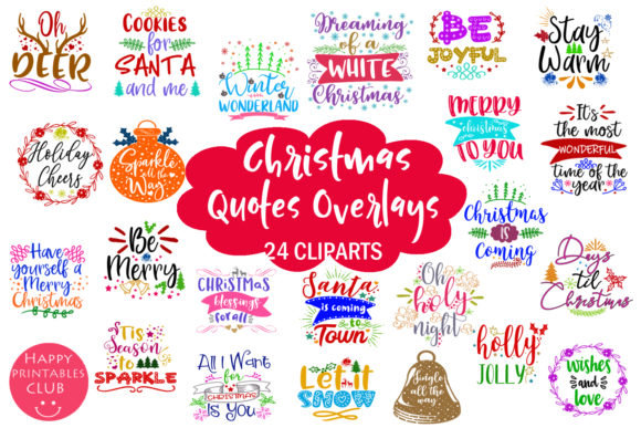 Print on Demand: Christmas Quotes Overlays Text Overlays Graphic Illustrations By Happy Printables Club - Image 1