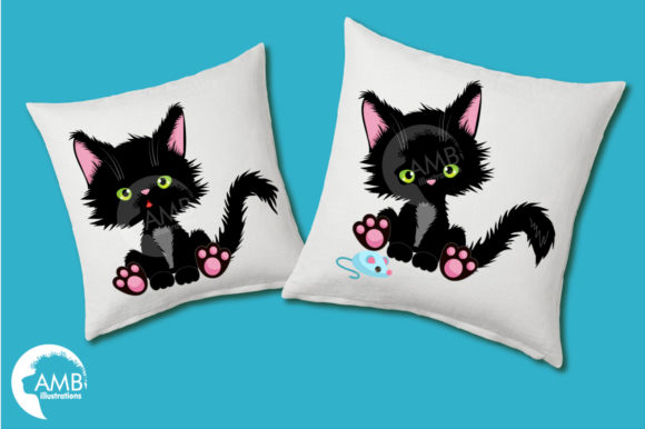 Cute Black Cat Clipart Graphic Illustrations By AMBillustrations - Image 3